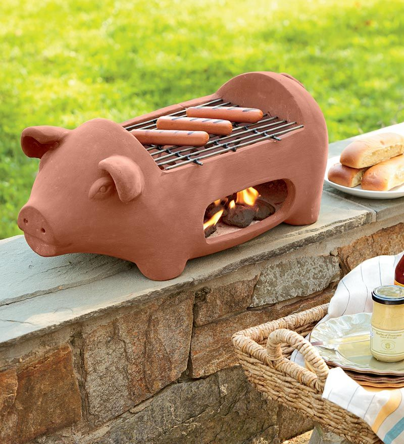 Terra Cotta Pig-Shaped Hibachi-Style Grill | Plow and Hearth