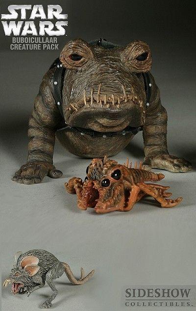 The Buboicullaraar Creature Pack Star Wars 12-inch Figures The Bubo Creature Pack features: * Bubo * Rock wart * Womp rat Your Price: $39.99