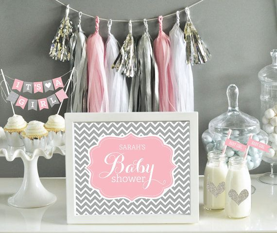 Pink and grey baby shower decor pink and gray chevron for Pink and grey bathroom decor