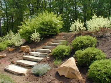 Large Flat Steps Descending Down The Backyard Filled With Creeping Ground Cover On Each Side Landscaping On A Hill Backyard Landscaping Rock Garden Landscaping
