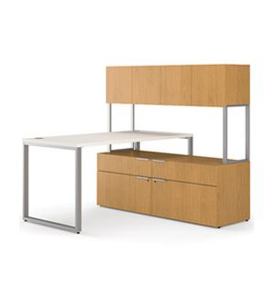 HON Voi L Shaped Desk With Low Credenza And Hutch   L Shaped Desks