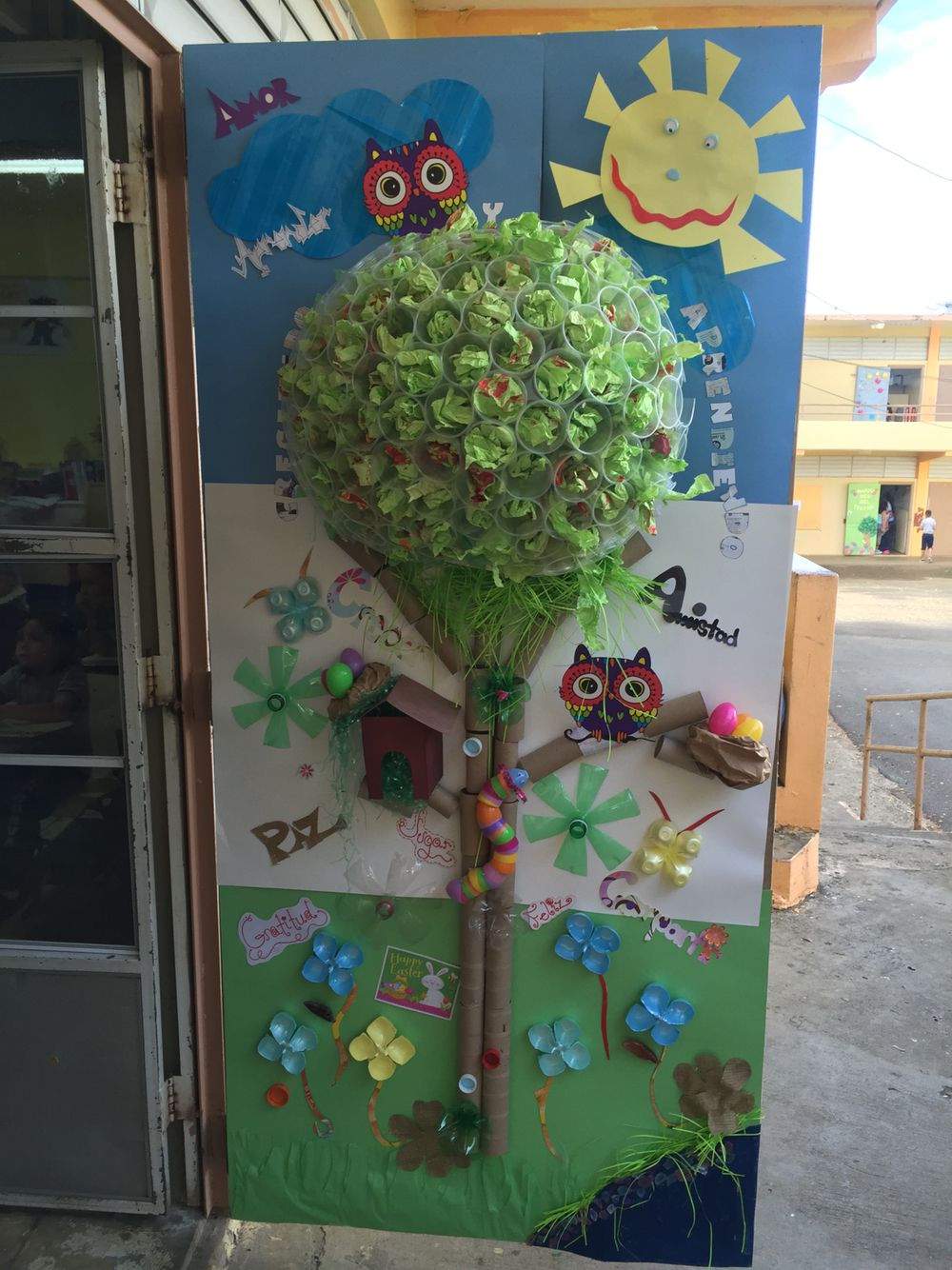 Classroom Decorating Ideas Camping Theme ~ Classroom door made of recycled materials