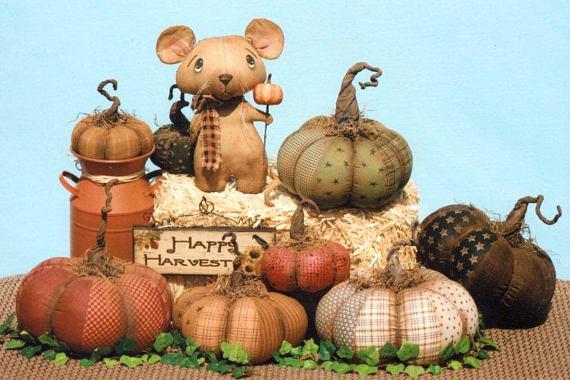 New Primitive Fall Halloween Folk Art STENCILED STAR PUMPKIN Stuffed Fabric