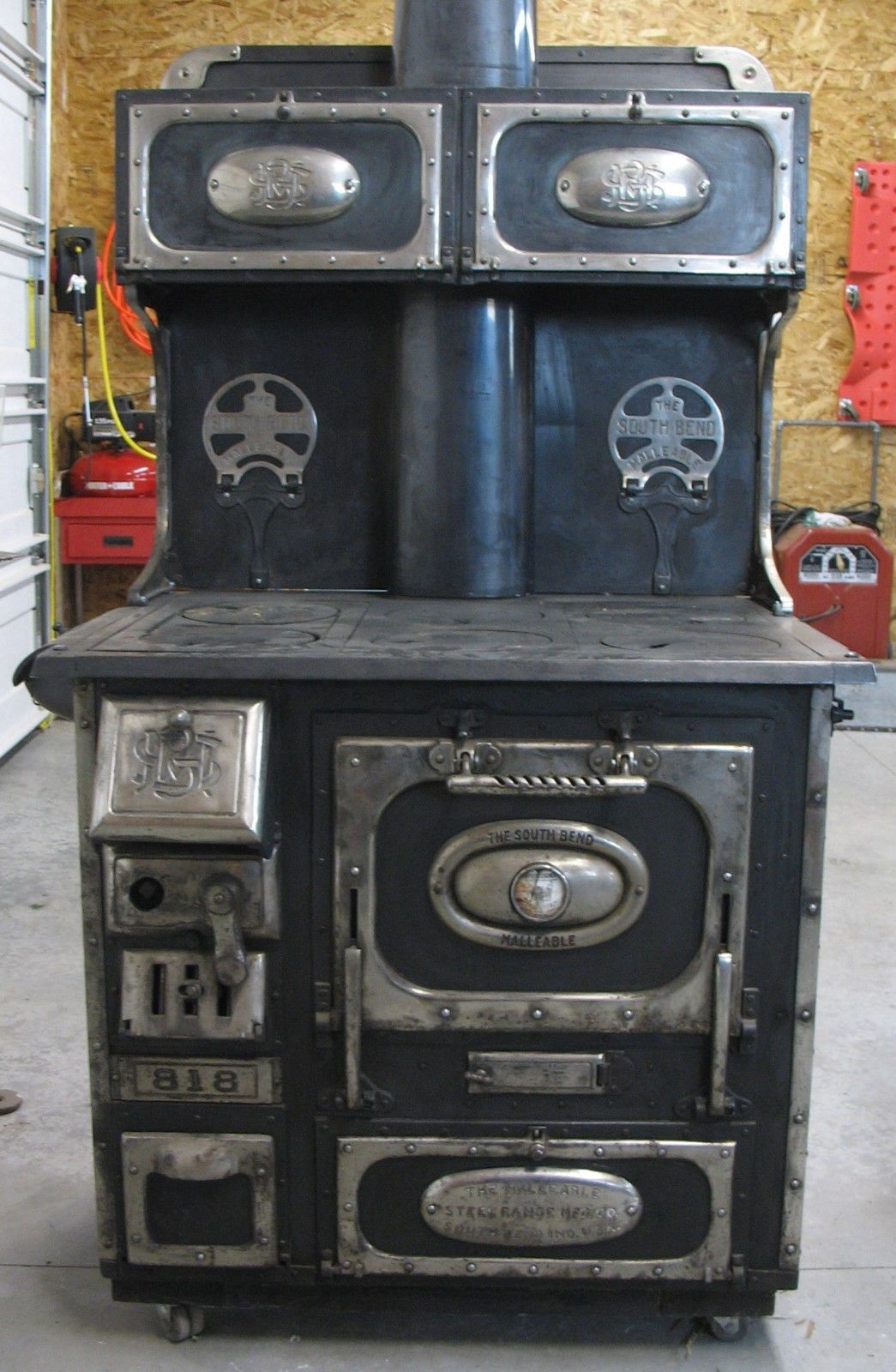 Old Antique South Bend Malleable Wood Cook Stove Black Model
