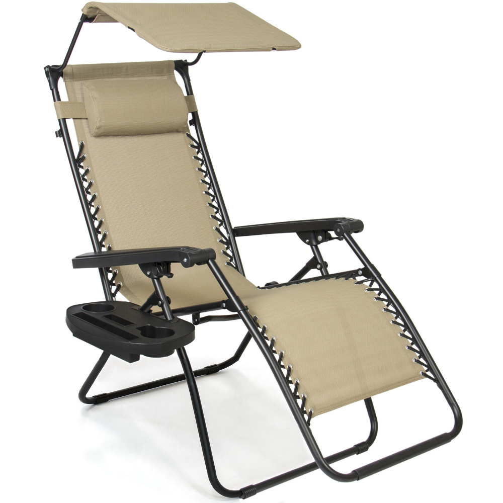Bcp Folding Zero Gravity Recliner Lounge Chair W Canopy Cup Holder Patio Lounge Chairs Zero Gravity Recliner Patio Chairs
