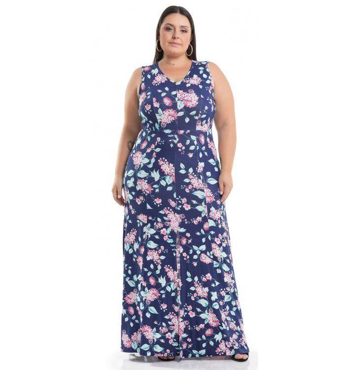 d8a0c2c37 Vestido Longo Viscolycra Azul Floral Miss Masy Plus Size #modaplussize  #roupasplussize #roupasfemininas #