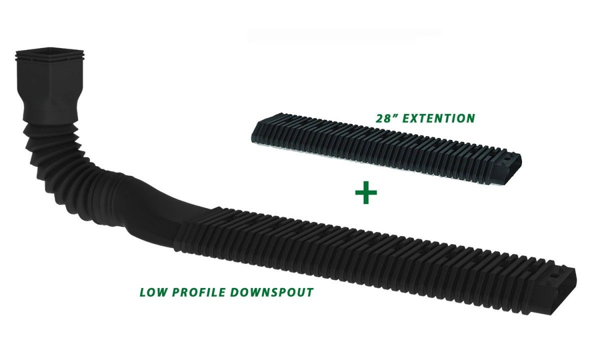 Downspout Adapter Kit Low Profile Extention Drain 2 35 High No Digging Greydock Com Downspout Drainage Solutions Downspout Drainage