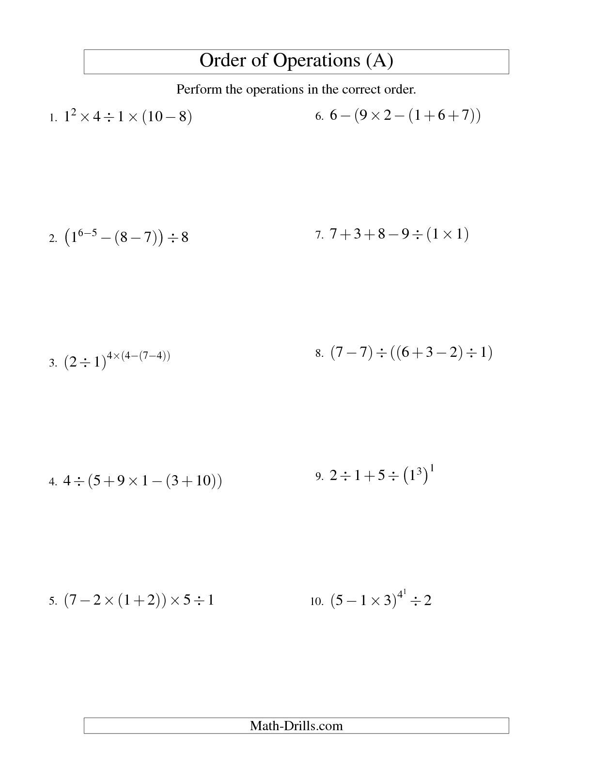The Integers Order Of Operations Five Steps A Math