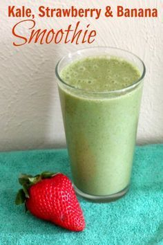 Kale, Strawberry & Banana Smoothie #strawberrybananasmoothie
