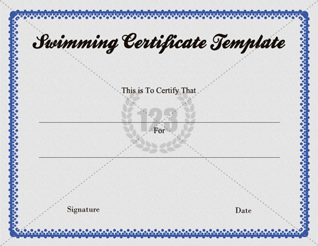 Free Swimming Certificate Template Download 123certificate