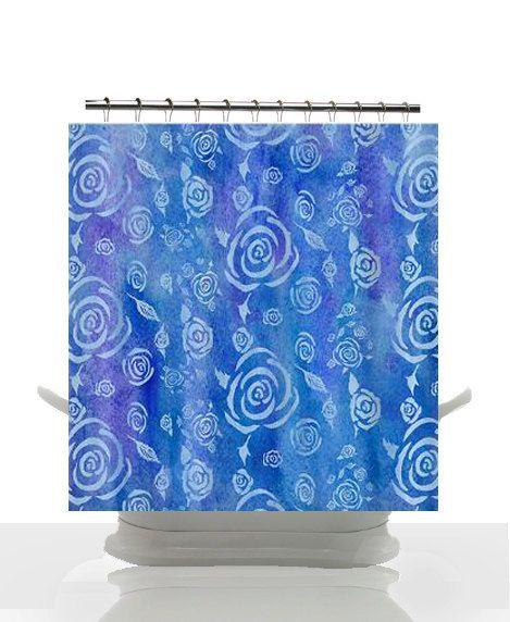 Artistic Shower Curtain Bali Batik Floral Blue Batik Floral