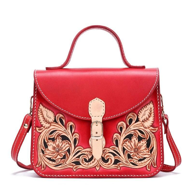 Original Famous Brand High End Women S Bag Handmade Leather Carving Tang Grass Handbags Leather Chinese Hand Sewing Bag Women Genuine Leather Bags Leather Handbags Leather