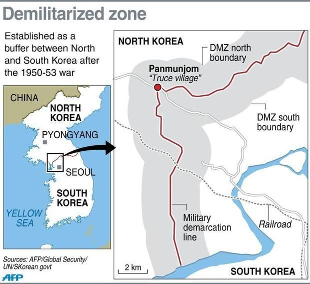 Graphic map locating Panmunjom truce village where Pyongyang said it
