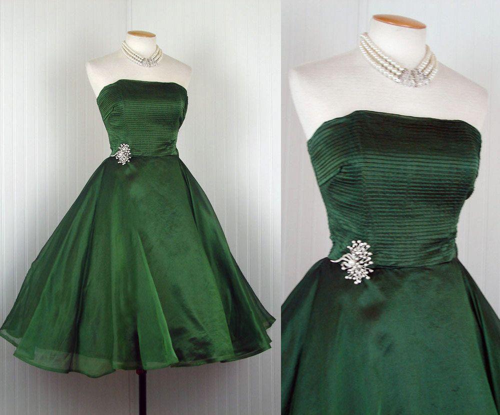S dress emerald isle vintage s green silk organdy strapless