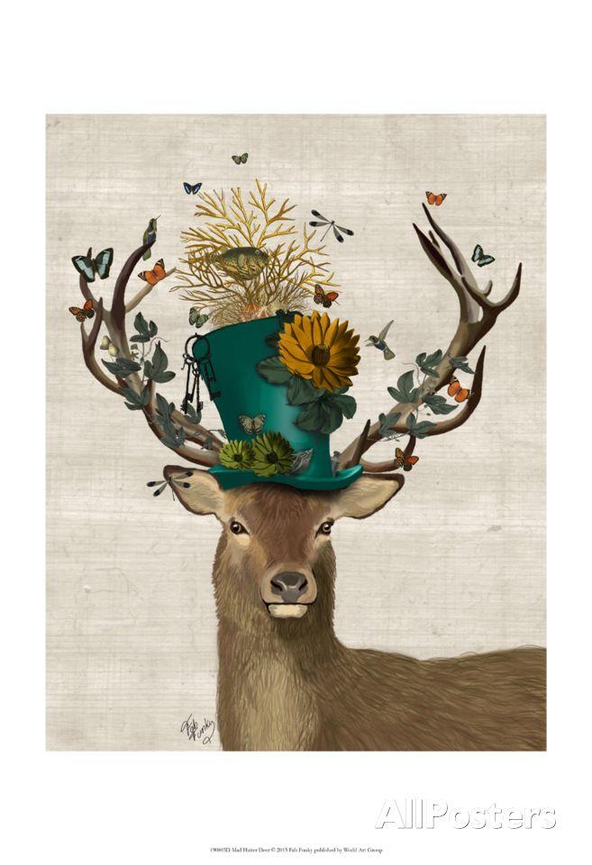 Mad Hatter Deer Prints Fab Funky Allposters Com Deer Art Print Deer Painting Deer Art