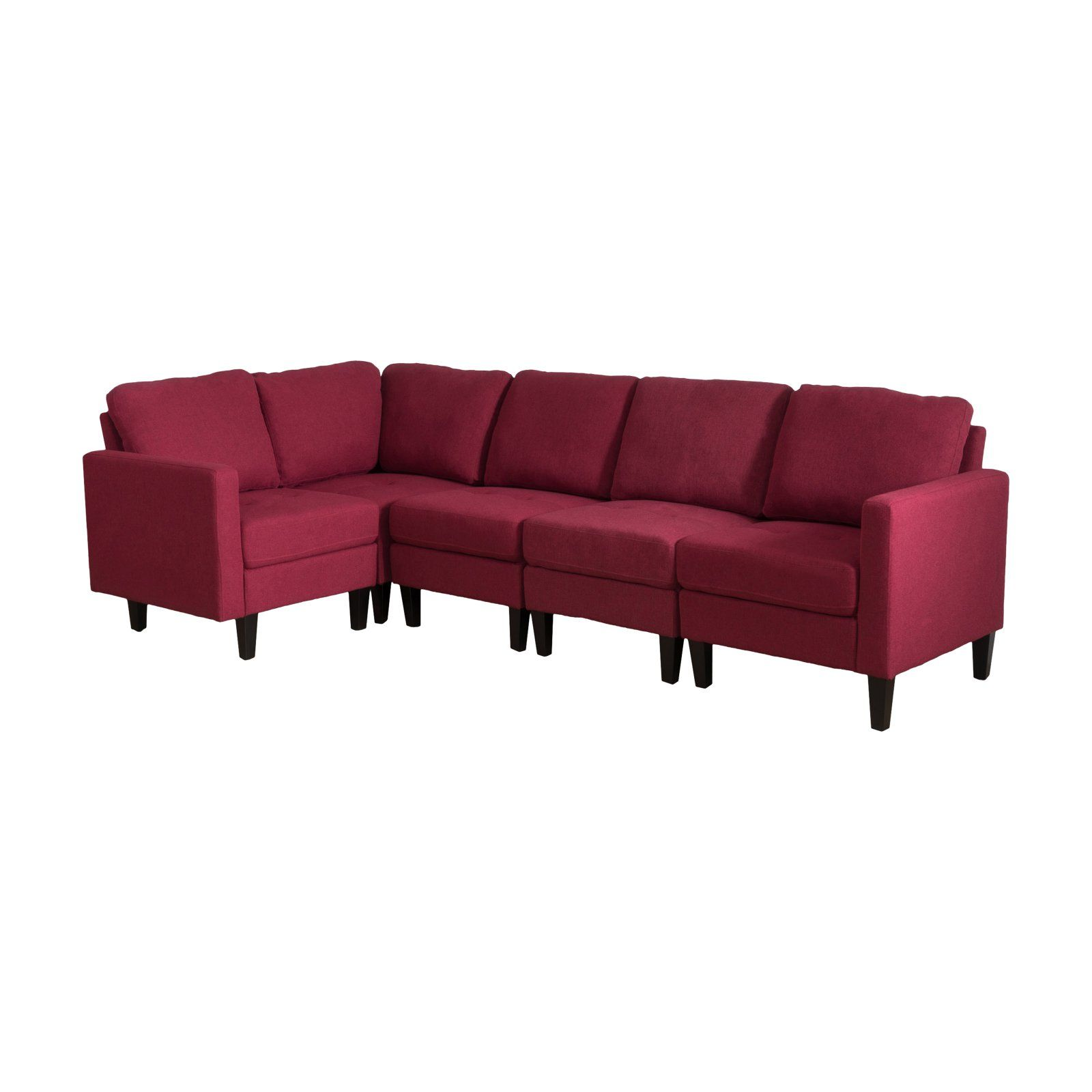 Zahra Tufted Sectional Sofa Deep Red Fabric Sectional Couch Sectional Sofa Sectional Couch
