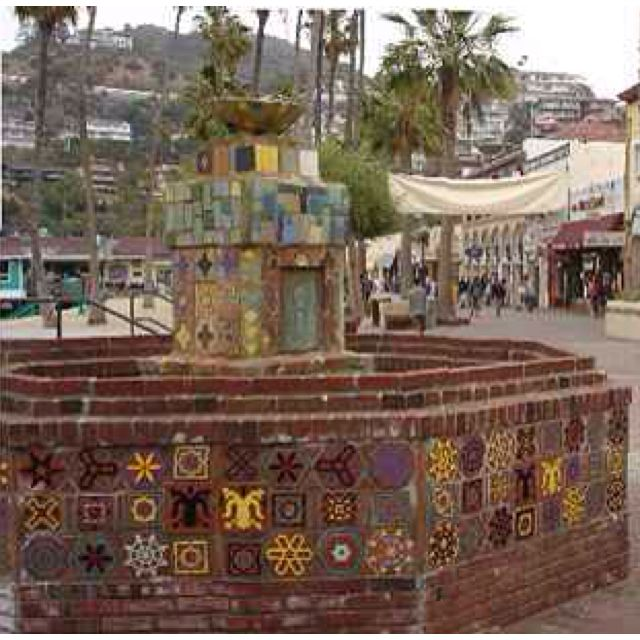 The fountain at Avalon, Santa Catalina Island, California. Featuring tiles from Catalina Tile and Pottery.
