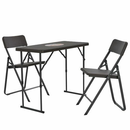Berkfield Bistro Set 3 Pieces Hdpe Brown Rattan Look Berkfield