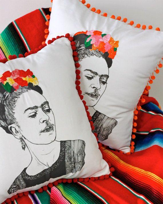 frida kahlo embroidered pom pom pillow