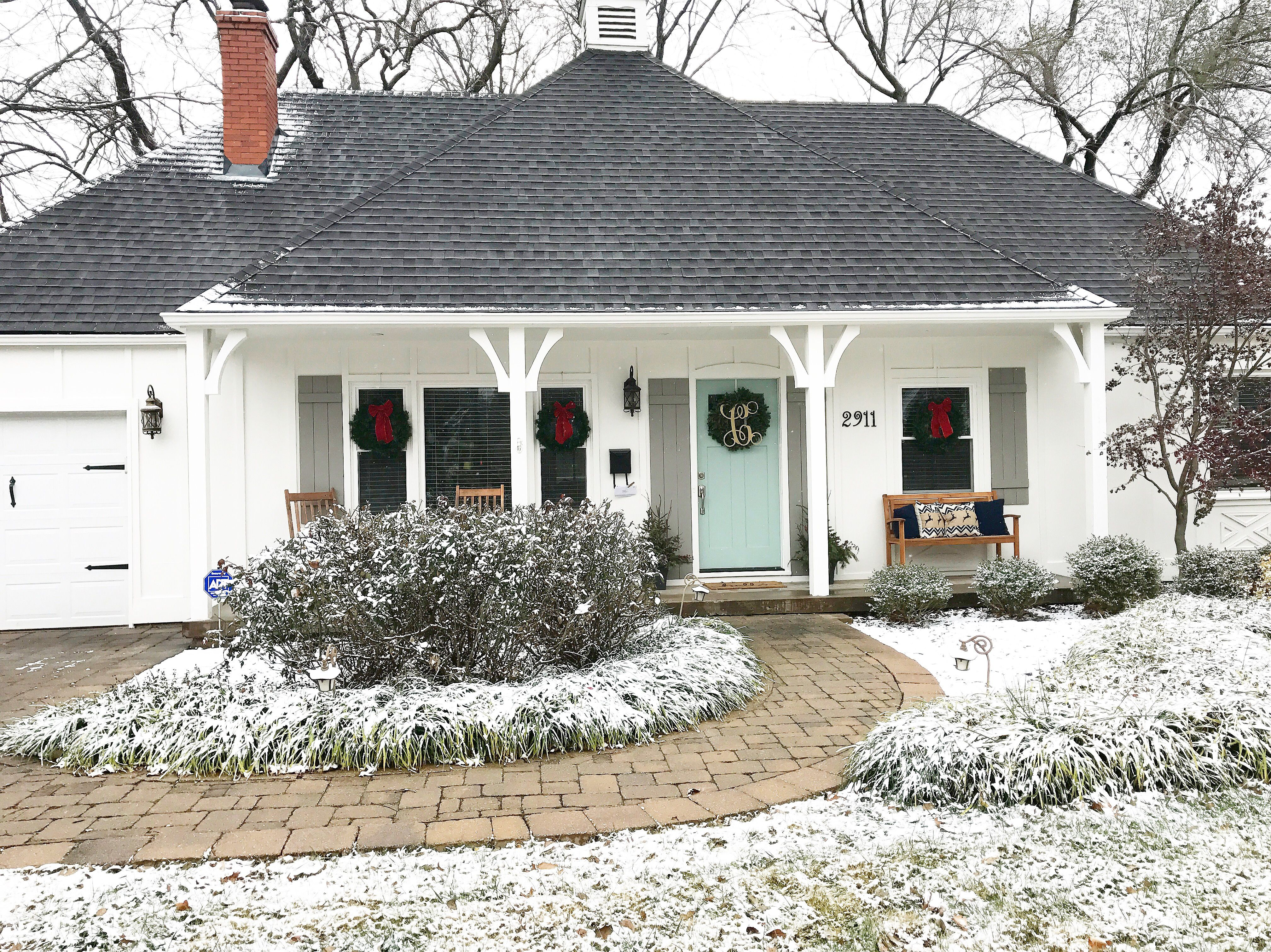 french country front doorFrench Country house during the holidays Paint colors Alabaster