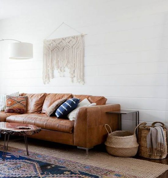 Leather Sofa And Macrame Wall Hanging In Cali Cool Boho Living Endearing Living Room Sofas Review