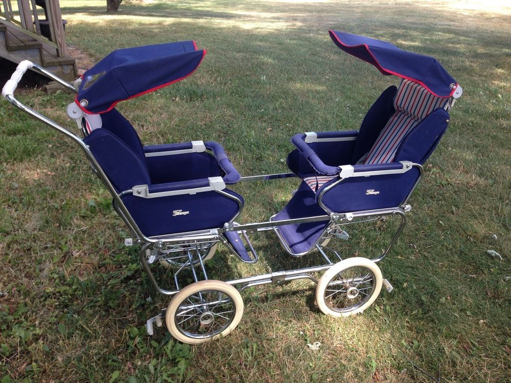 Vintage 1950s Italian Peg Perego Double Twin Stroller