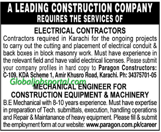 Electrical Contractors Mechanical Engineer Jobs In Karachi Electrical Engineering Projects Electrical License Electrical Conduit