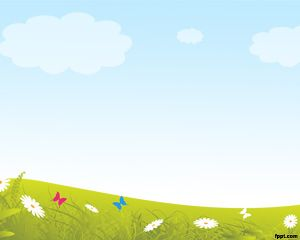 Spring Powerpoint Template Background With Green Grass And Flowers
