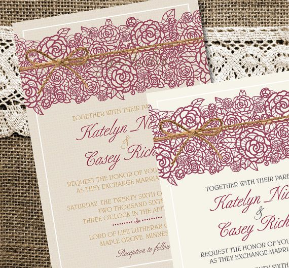 Wedding Invitations Invites Rustic Country Lace Burlap