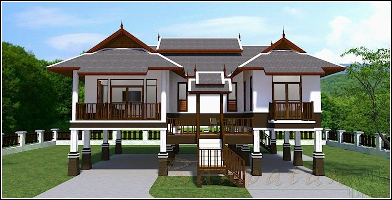 Modern thai house plan 3 beds 2 baths for Modern thai house design