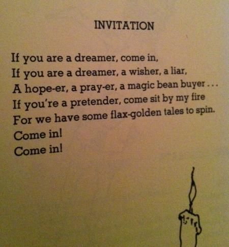 Shel Silverstein Invitation I want this as a tattoo This poem