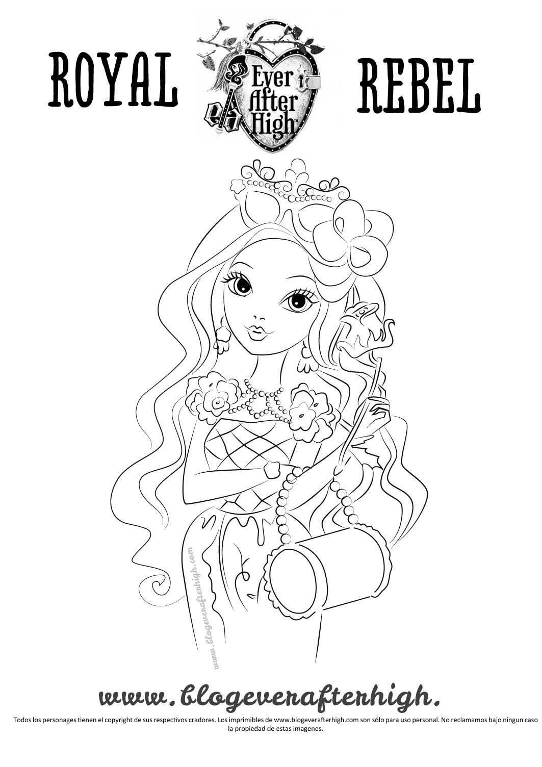 Card Image Of Briar Beauty In Outlined Black And White To Print Color