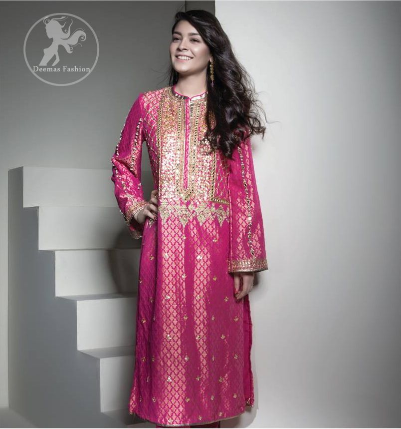Shocking Pink Long Shirt - Capri Pants - Jamawar Dupatta | Capri ...