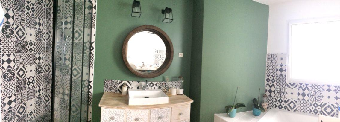 Salle de bain - carreaux Leroy merlin - meuble maison du monde ...