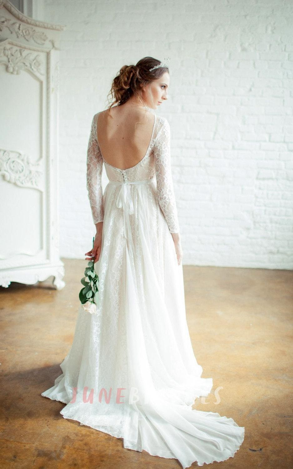 Kora High Necked Wedding Open Back Dress