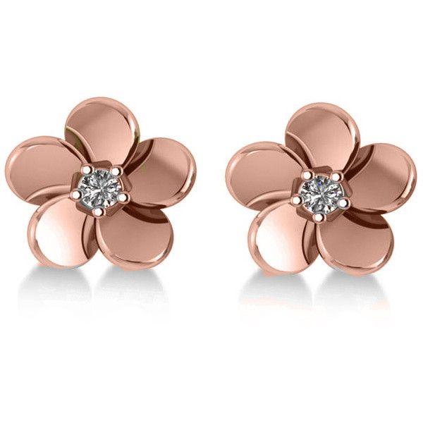 Allurez Diamond Flower Blossom Stud Earrings 14k Rose Gold 0 06ct 520