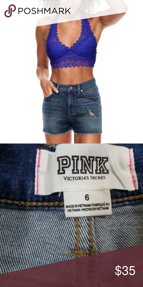 4de8785df3eb0 Pink Denim Shorts Victoria's Secret Pink High Waisted Denim Shorts ...