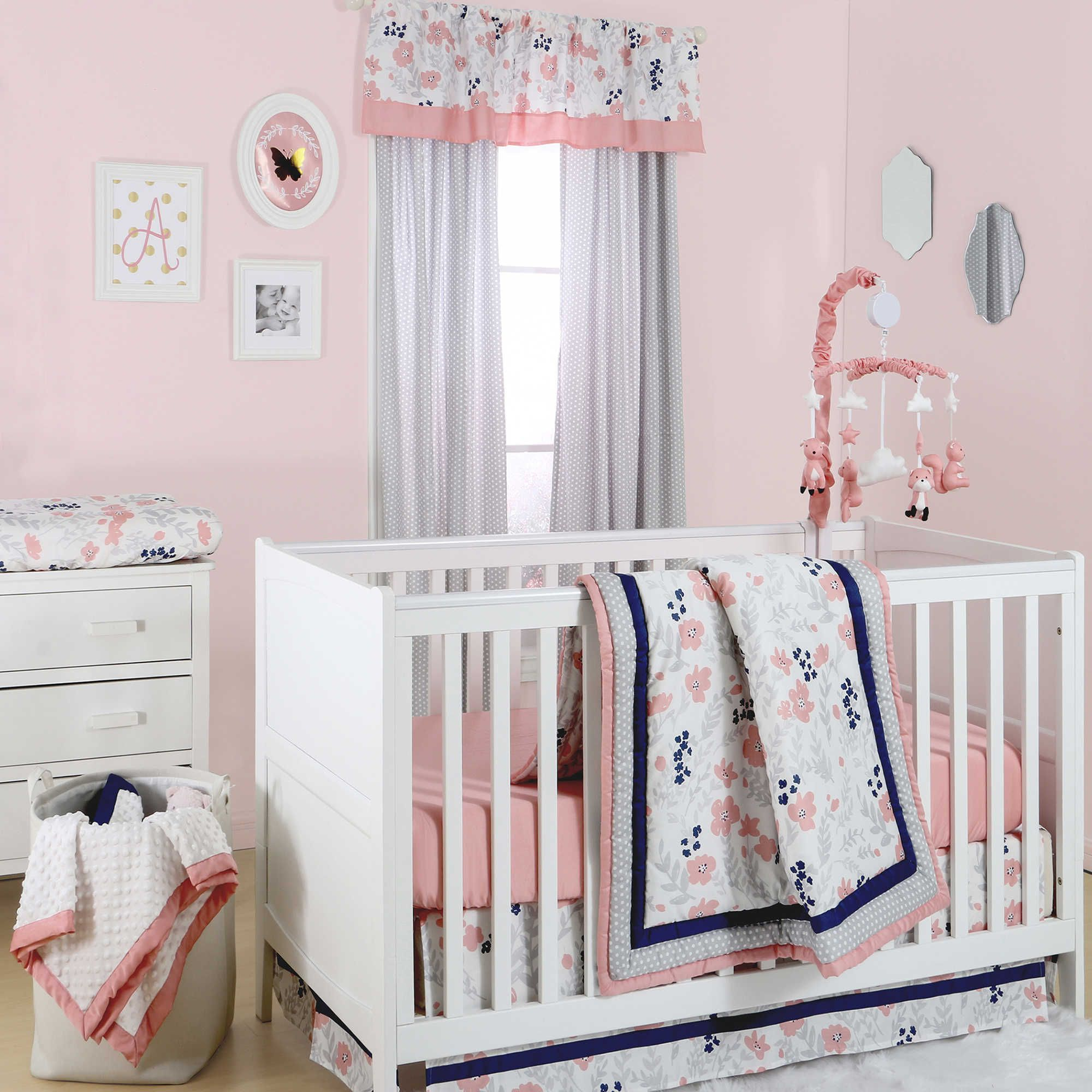 standard floral pink sheet bedding size cribs crib set baby girl cotton product