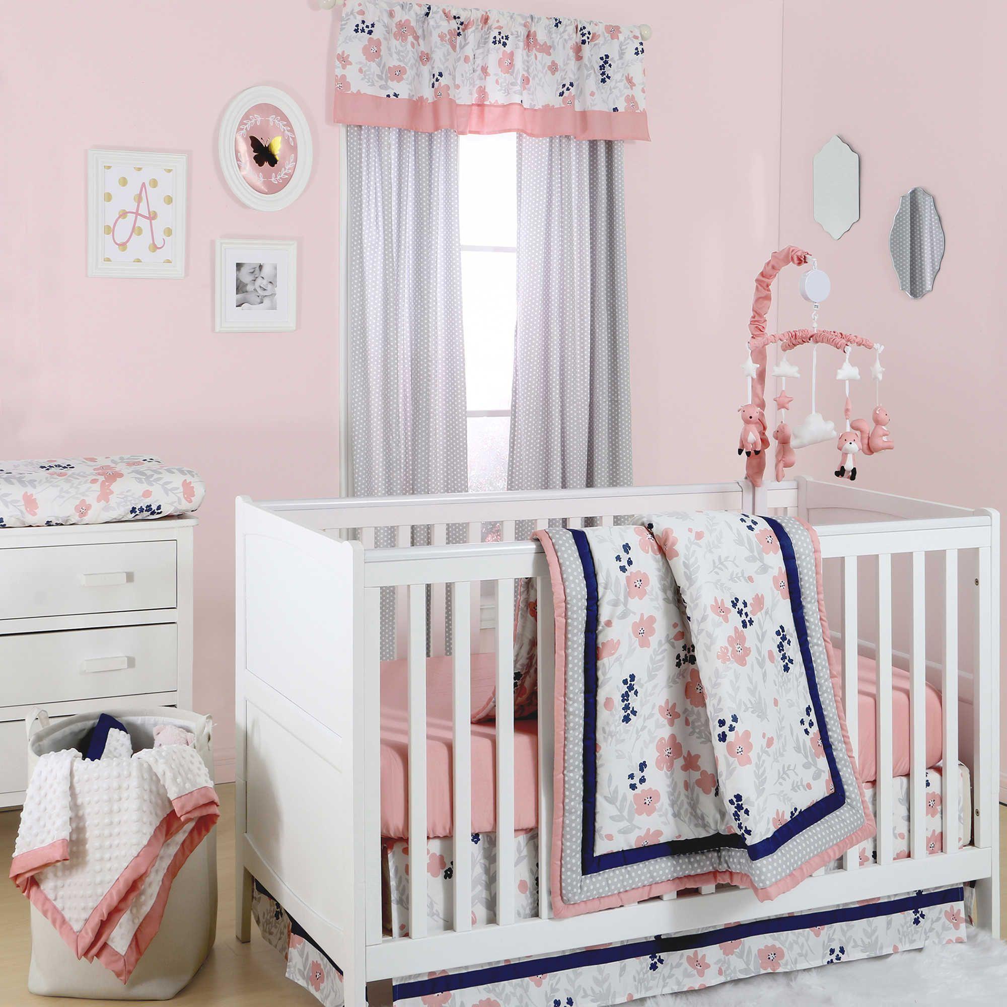 pink floral crib bedding piece set baby cribs watercolor