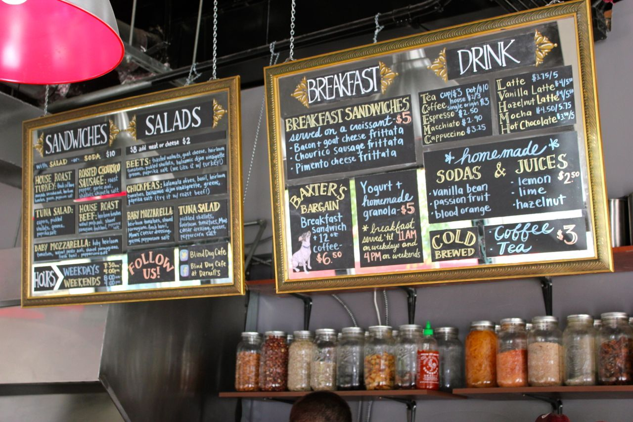 Bling Dog Cafe, chalk board menus over antique mirrors