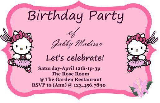 Hello Kitty Birthday Invitation Card Template Hello Kitty