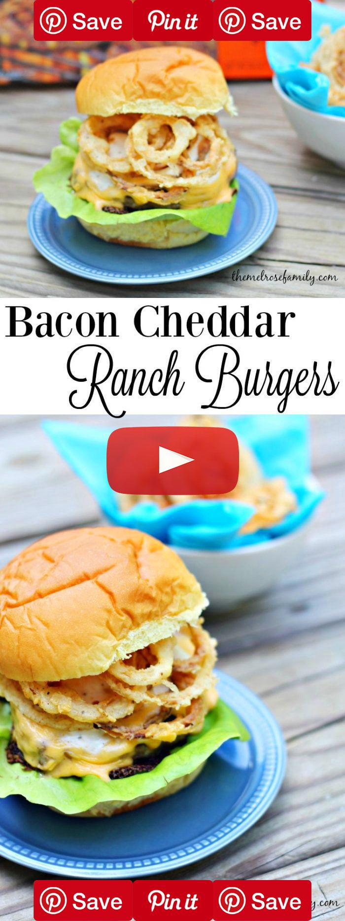 Need the perfect burger for your next barbecue? These Bacon Cheddar Ranch Burgers with Onion Strings are just what a crowd ordered.: Burgerz