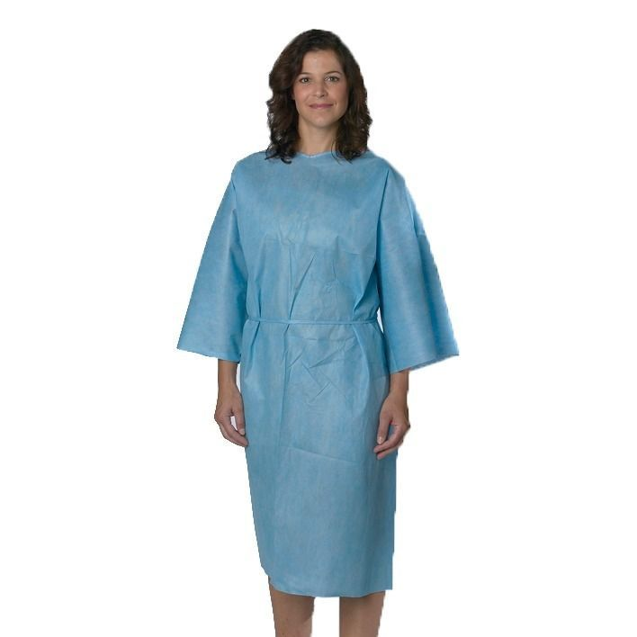 Medline Patient Gown SMS Blue Short Sleeve XL (Pack of 50) by ...