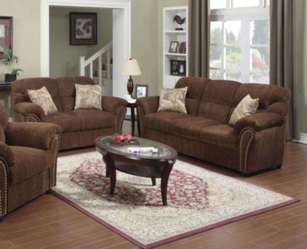 Acme Furniture Patricia 2 Piece Chenille Sofa Set In Dark Brown 50130s L Leather Living Room Furniture Sofa Set Living Room Sofa