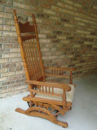 Terrific Antique Oak Platform Or Swing Rocker Vintage Rocking Chair Customarchery Wood Chair Design Ideas Customarcherynet