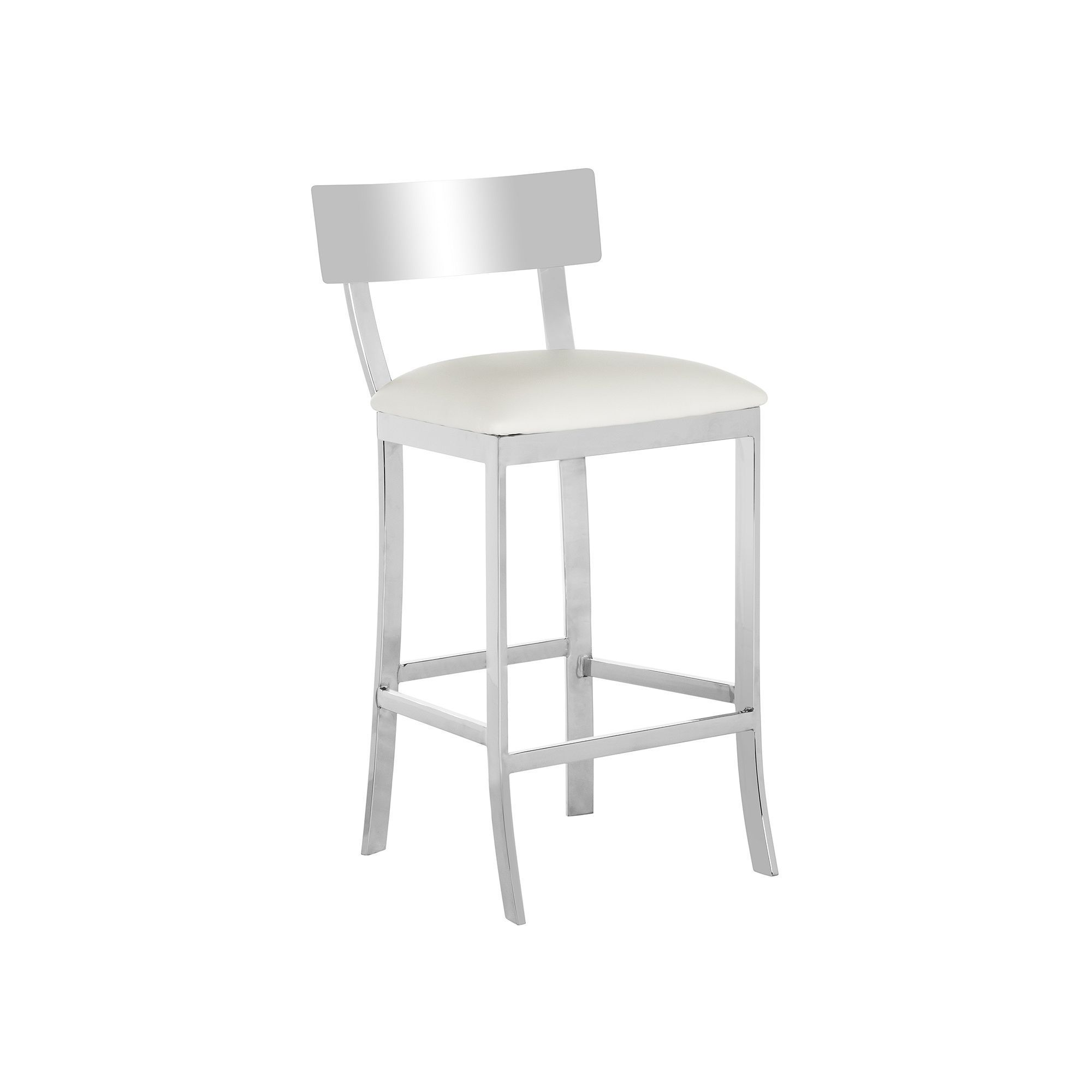 Safavieh Stainless Steel Counter Stool White With Images Leather Counter Stools Steel Bar