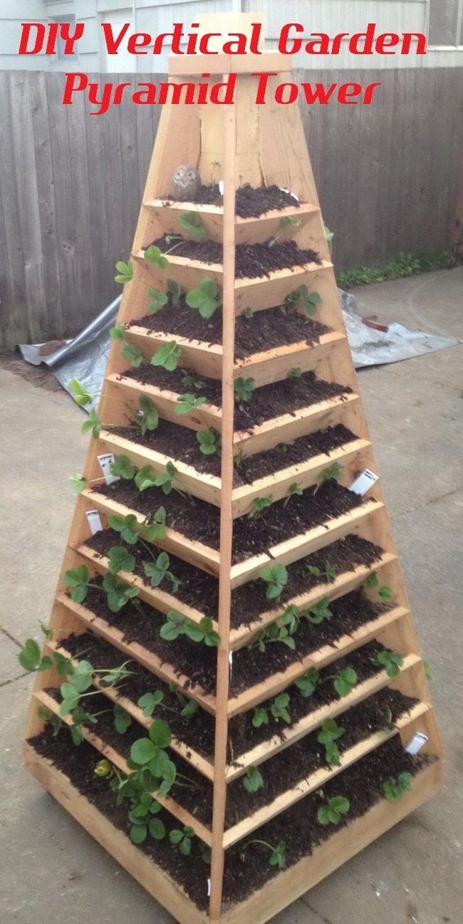 DIY Vertical Garden Pyramid Tower Outdoor Gardening Project