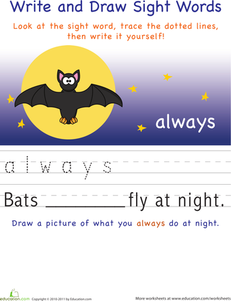 Write And Draw Sight Words Always Worksheets Sight Words