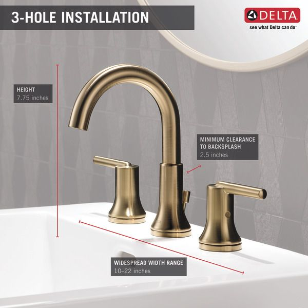 Two Handle Widespread Bathroom Faucet 3559 Czmpu Dst Delta Faucet Bathroom Faucets Widespread Bathroom Faucet Faucet