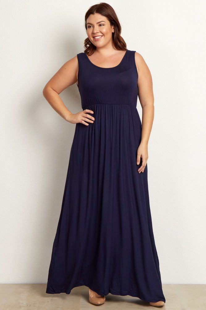 Navy Basic Sleeveless Plus Maxi Dress | #ForeverTLC ...